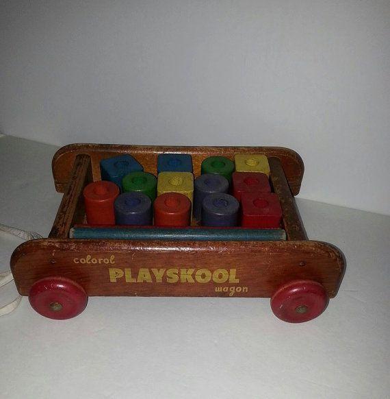 Vintage playskool wooden wagon and blocks multi by for Playskool kitchen set