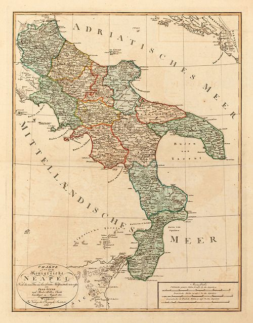 German map of the Kingdom of Naples.