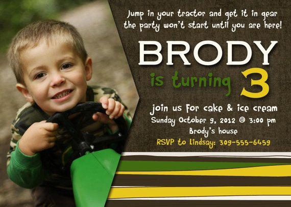 Best Tractor Birthday Invitations Ideas On Pinterest Farm - John deere 2nd birthday party invitations