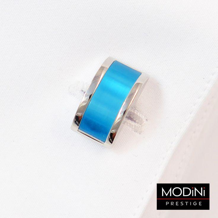 Srebrno-niebieskie zaokrąglone spinki do mankietów - https://modini.pl/28-spinki-do-mankietow