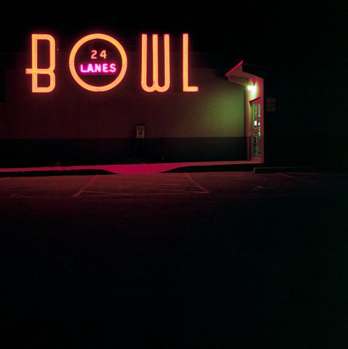 """mpdrolet:  Ben Hinceman  "": American Signage, Lights, Neon Signs, Ben Hinceman, Neon Art, Sioux Fall, 4 25 12 Bowls, 24 Lane, Photography"