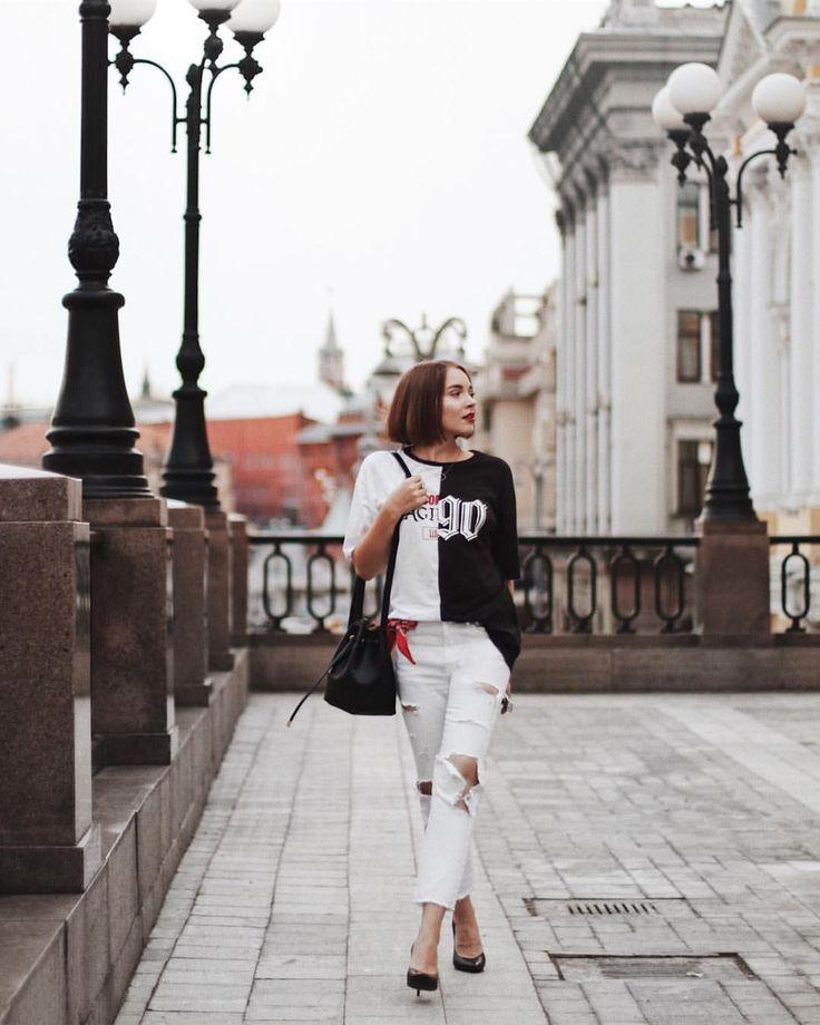 "2,236 Likes, 32 Comments - Lisaveta (@lisaveta.me) on Instagram: ""back to 🖤 basics: t-shirt - @hm jeans - @zara bag - @lime_official heels - @kendallandkylie"""