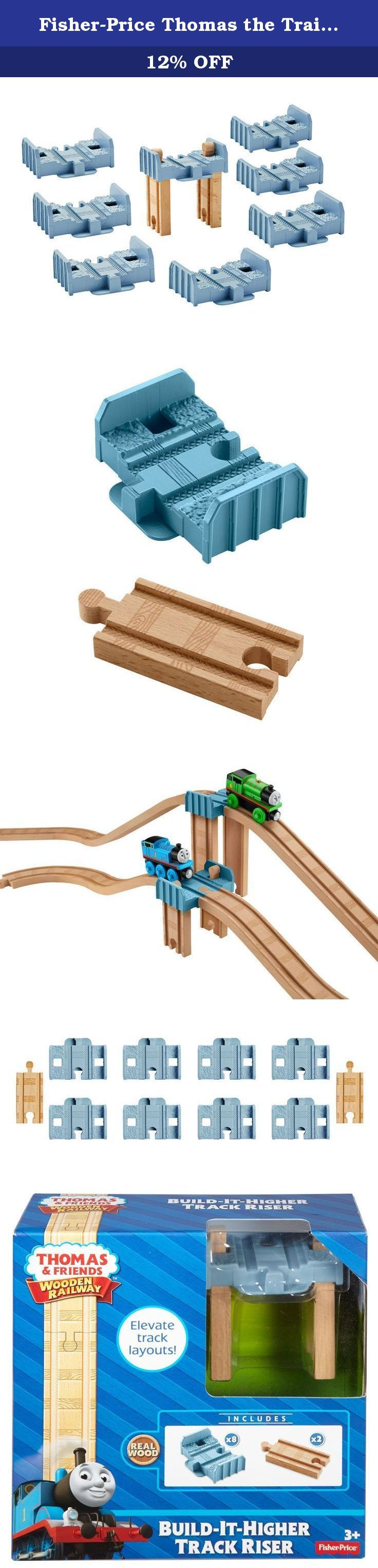 Fisher-Price Thomas the Train Wooden Railway Build-it-Higher Track Riser. Your child can elevate their Wooden Railway track layouts with this track pack that allows them to create track risers using pieces from their collection. The included plastic 2-inch track piece can be combined with two 3-inch straight tracks to make a level-1 track riser. The plastic piece can also be combined with two 8-inch tracks (sold separately and subject to availability) to make a level 3 riser. The...