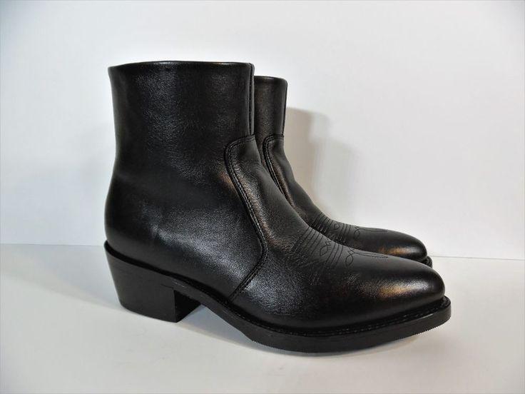 Men's Durango Black Ankle Boots TR820 Side Zip LEATHER Size US 8.5 EE, UK 8  #Durango #CowboyWesternAnkleBoots