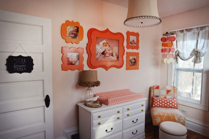 This gallery wall pulls you right in with those bright, happy orange and coral frames! #nursery #gallerywall: Photo Collage, Coral Nurseries, Frames, Pink And Orange Rooms, Projects Nurseries, Accent Colors, Pink And Orange Baby Rooms, Blue And Orange Pink Rooms, Nurseries Ideas