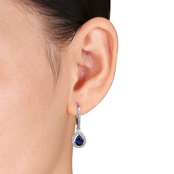 Miadora White Gold Created Blue Shire And Diamond Accent Earrings Ping Top Rated Gemstone