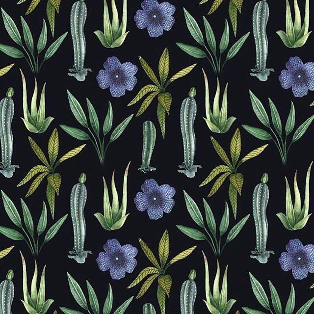 Moody tropical #pattern #surfacepattern #surfacedesign #makeitindesign #patternbank #tropical #cactus #cacti #surfacepatterns #darkfloral #fabric #fashion #textile #textiledesigner #patterndesign #wallpaper #design #instaart #instafashion #watercolor #patternbank IG: @katya.rozz