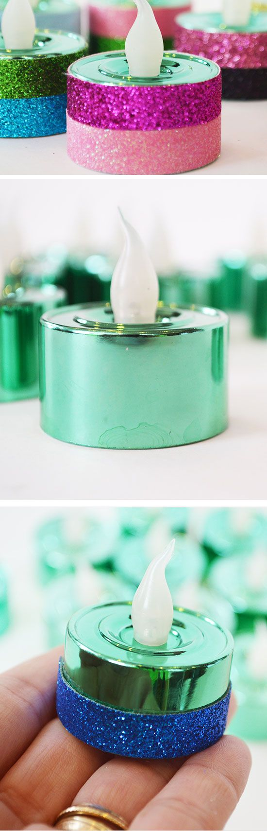 Glittered Tea Lights | DIY Party Ideas for Teen Girls