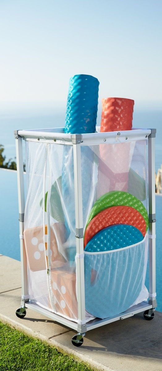 Pool Organization Ideas beach towel and bathing suit rack organizing outdoor living storage ideas wall Collapsible Storage Cart Pool Float Storagepool Organizationorganizing Ideasstorage