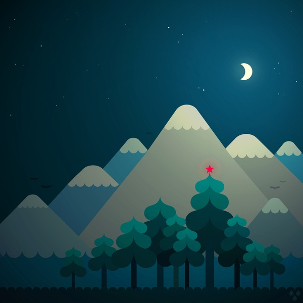 Mountains by Dopludo Labs: Night. #Illustration #Dopludo_Labs