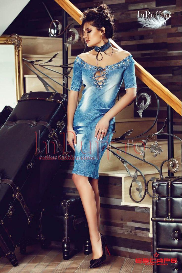 Rochie midi din denim - Rochie midi din denim rochie midi rochie denim croi pe umeri se inchide cu fermoar la spate maneca scurta fabricat in Romania Rasfata-te InPuff cu cele mai frumoase rochii denim!