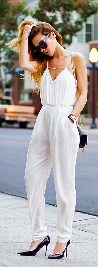 White Jumpsuit | Fashion | Pinterest | White Jumpsuit Jumpsuits and Summer