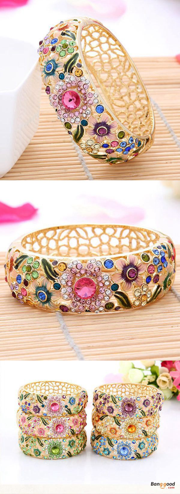 Bundle offer 18k gold plated amp white gold plated necklace 2 ring - Cloisonn 18k Gold Plated Rhinestone Hollow Flower Leaf Wide Bracelet