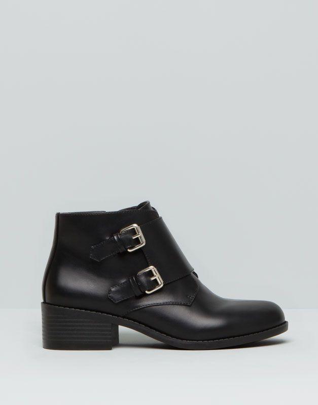Pull&Bear - mujer - zapatos mujer - botín hebillas - negro - 15135011-I2015
