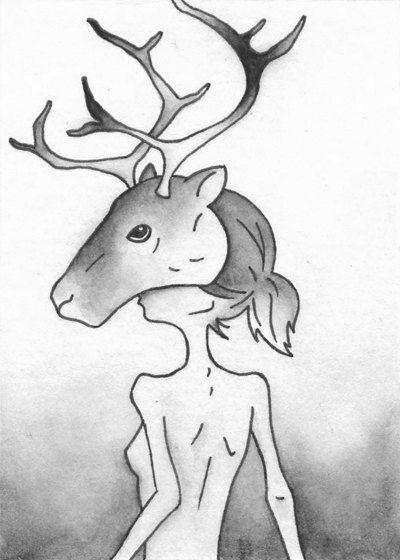 Caribou / Reindeer - Original Artwork / Illustration - ACEO by CuriousLemon.  Available @ Etsy: curiouslemon.etsy.com.  [Fantasy, dark art, fantastical, forest, arctic, spirit, half woman, caribou, reindeer, animal, black and white, watercolor.]