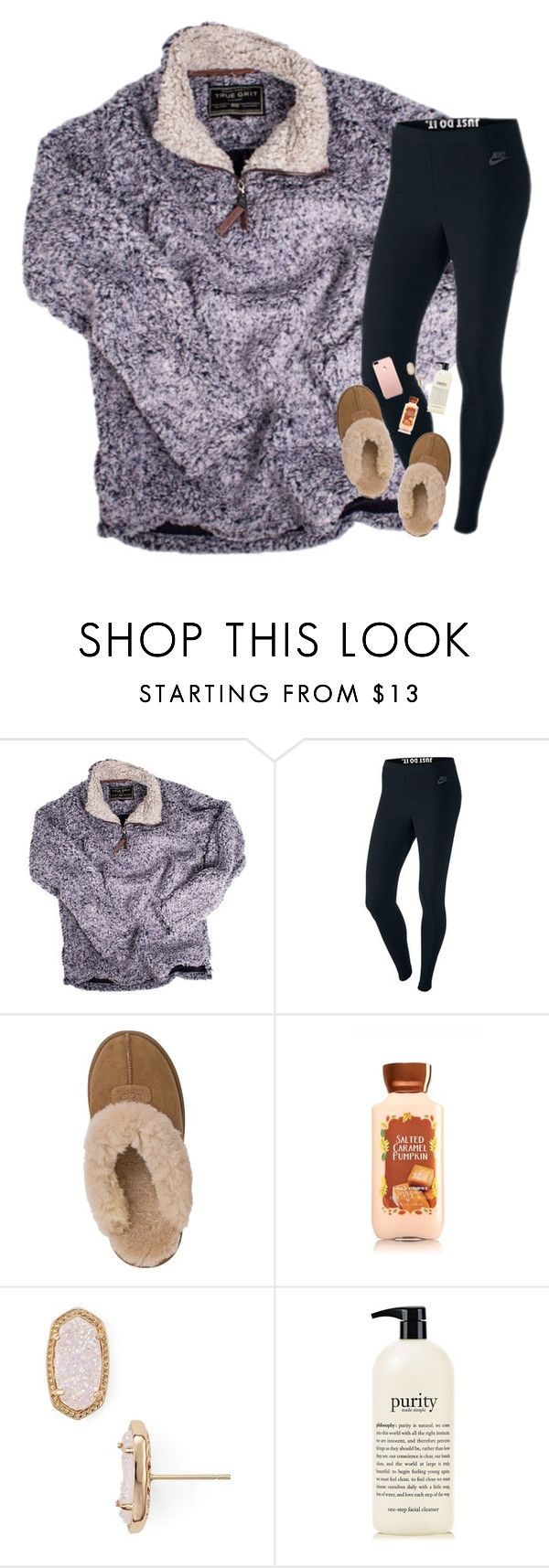 """""""mild concussion currently"""" by mehanahan ❤ liked on Polyvore featuring True Grit, NIKE, UGG Australia, Kendra Scott and philosophy"""