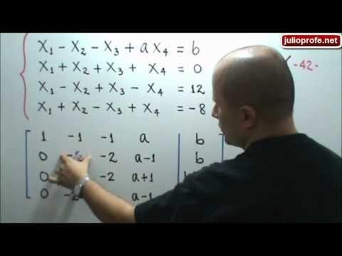 """Método de Gauss para analizar un sistema de ecuaciones: Julio Rios explica cómo determinar, usando el Método de Gauss, los valores de dos constantes """"a"""" y """"b"""" en un sistema de ecuaciones lineales de 4x4 de modo que éste tenga solución única, infinitas soluciones y no tenga solución."""