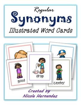 Illustrated Synonym Word Cards: This is a kid-appealing candy themed set of synonym cards for introducing synonyms to your kiddos. There are pairs of synonyms depicted by the same picture so that they will get familiar with the concept. They can match cards or use as a visual to brainstorm other words that mean the same as the picture given.The cards can also be used to spark their writing.There are a total of  64 illustrated synonym word cards  which depict the following: middle  center…