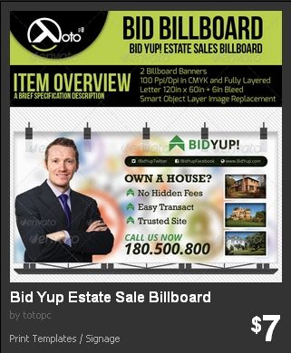 Bid Yup Estate Sale Billboard  Billboards for Estate Sales online service for bidding buyers on a lot or a house and lot.