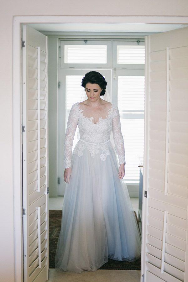LISE - Pale green tulle wedding dress with cream Chantilly lace - Dress by Janita Toerien - Photo by Jenni Elizabeth - www.janitatoerien.co.za