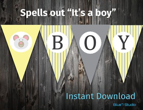 Baby Shower Striped Yellow Bunting Banner Its a boy by Blue7Studio, $4.00