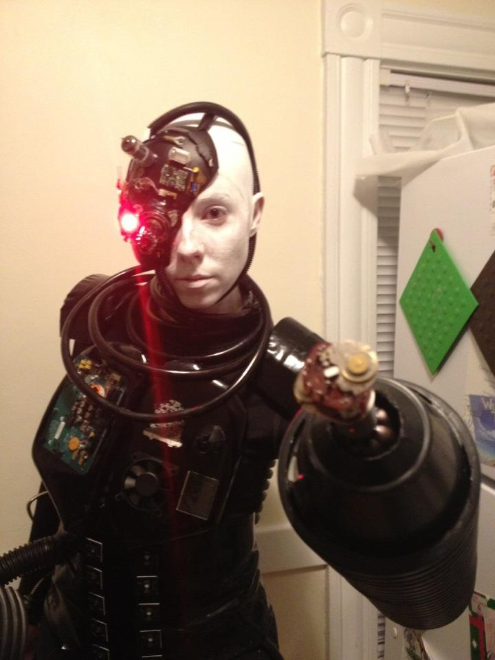 my halloween costume the end of the arms rotated and we had our cell phones installed in the forearm - Borg Halloween Costume