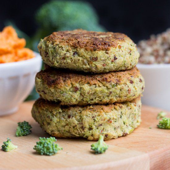 Everyone loves the broccoli-cheddar combo, but not the calories that usually come with it. These vegan quinoa burgers have all that flavor!