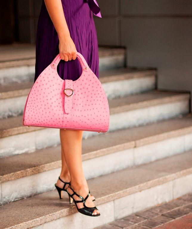 Contessa in Magnolia Pink. Sublime ostrich leather handbag. www.pedicollections.com