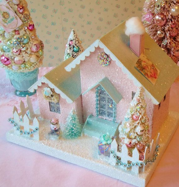 Shabby Putz House with Bottle Brush Tree and Pink by IllusiveSwan