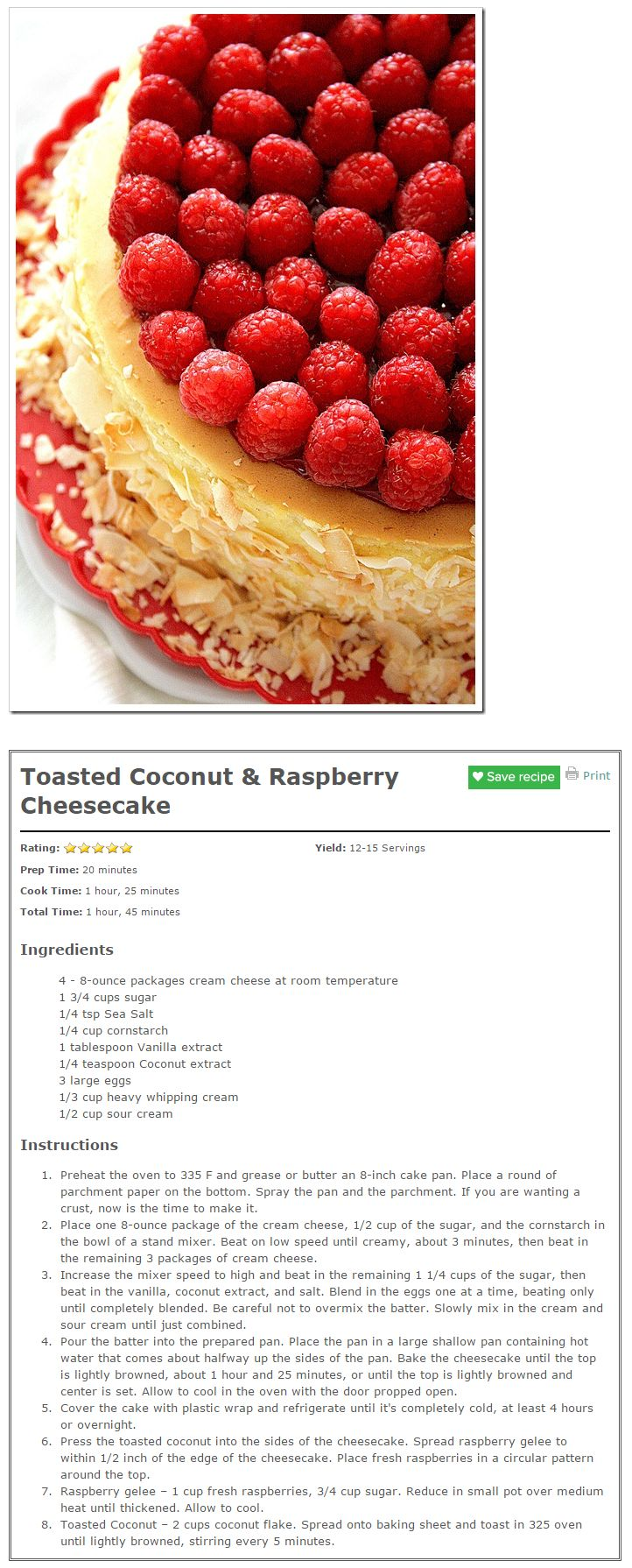 Toasted Coconut & Raspberry Cheesecake Recipe — Dishmaps