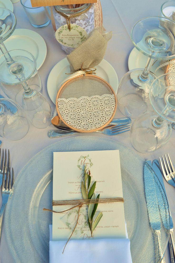 Table setting greek bobonieres wedding menu olive leaf for Table 52 menu