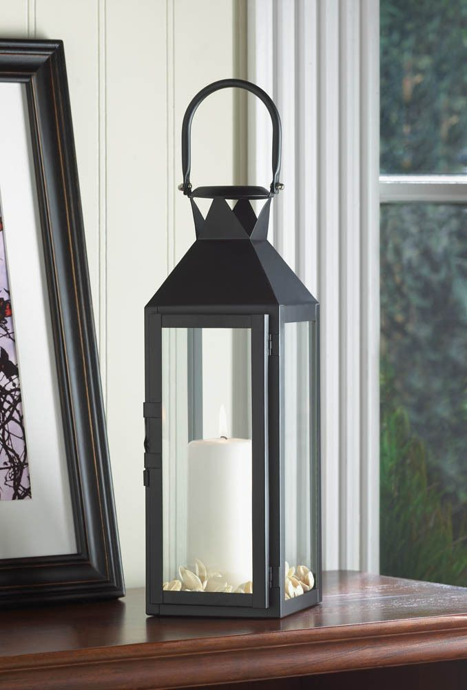 """5 BLACK MANHATTAN CANDLE LANTERN TABLE CENTERPIECES 18"""" TALL WITH LOOP~10015428"""