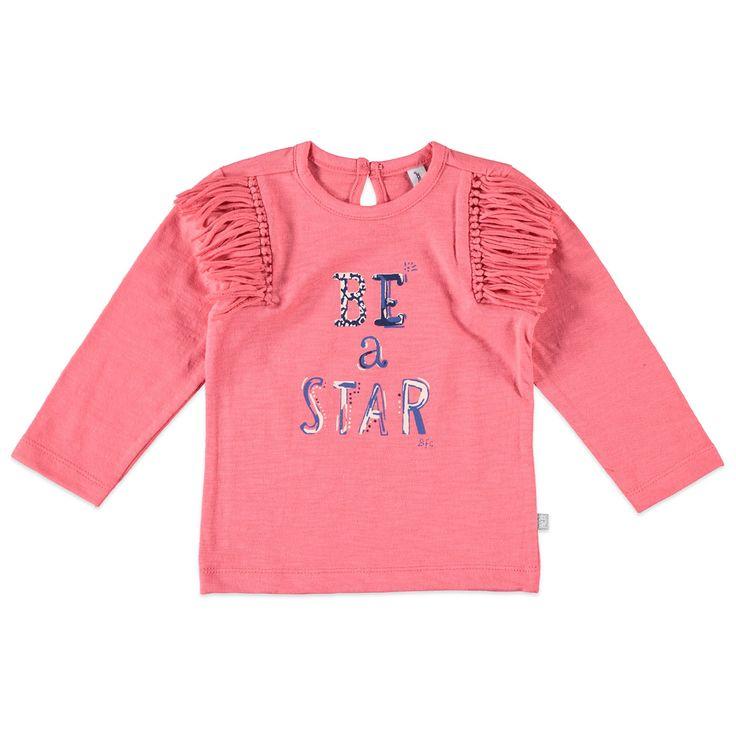 """Babyface T-shirt met ronde hals en lange mouw voor meisjes in de kleur roze. Dit slub tricot T-shirt van Babyface, uit de winter collectie, is gemaakt van 100% katoen en verkrijgbaar in de maten 68 t/m 104 en heeft achter bij de hals een splitje met knoopsluiting. Op de voorkant een grote print met de tekst """"BE a STAR"""".  Artikelnummer: 6208692 Seizoen: winter Leverancierskleur: 72 flamingo  Materiaal: 100% katoen"""