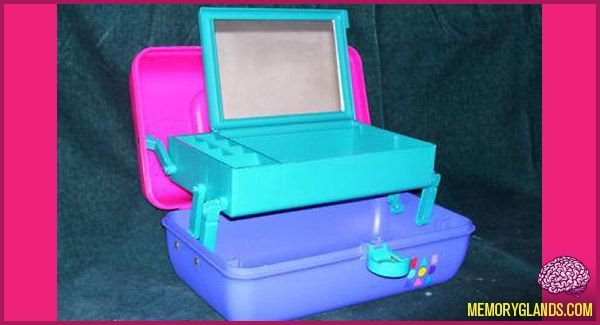 Caboodles! I had a pink one. I honestly would love to find one of these in a thrift store because they don't make anything quite like it and I could use one to organize makeup that I don't wear every day.