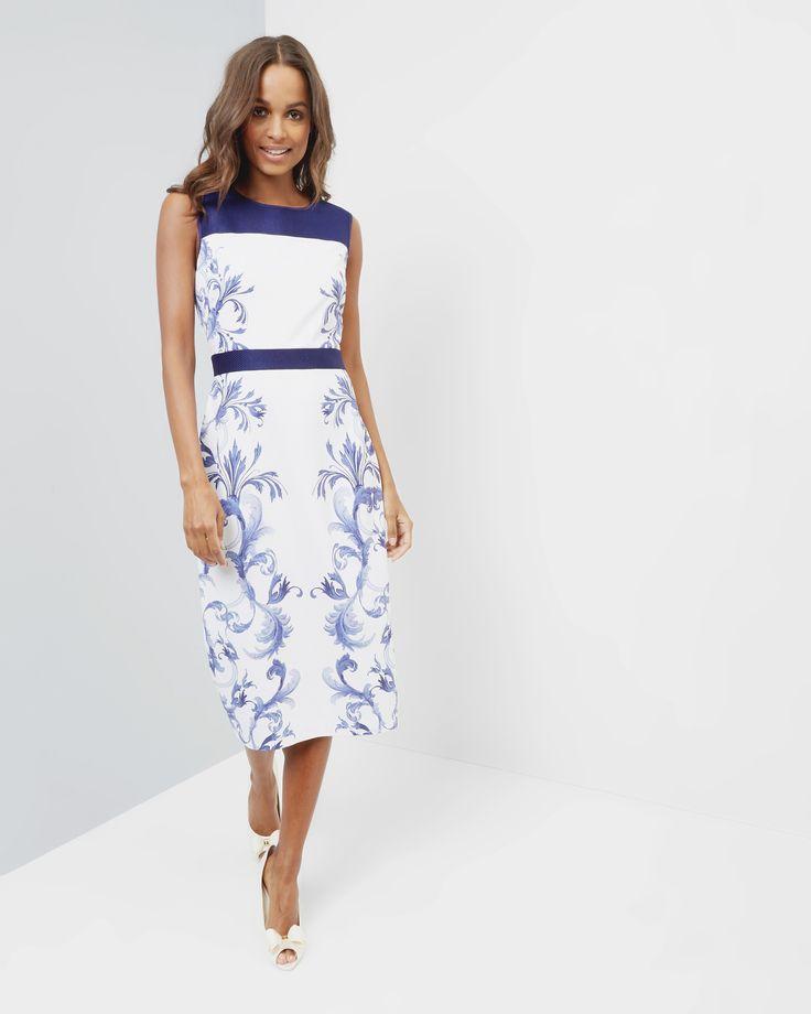 Persian Blue midi dress - Dark Blue | Dresses | Ted Baker UK