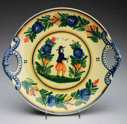 Quimper Faience Pottery: Hubaudiere-Bousquet Quimper Decorated Double-Handled Tray, ca. 1930s, Sold at Morphy Auctions in June, 2012 for $60