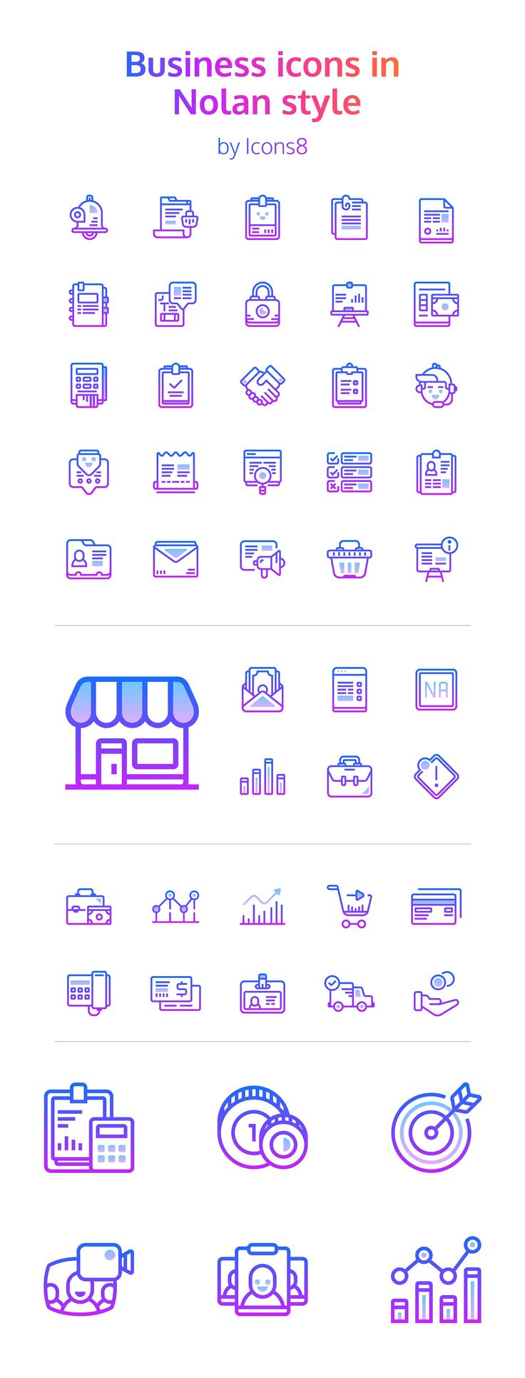 "We can never get enough icons, especially icons with a fresh approach to business concepts. So we're delighted to be able to bring you this free set of icons designed by Icons8. Created in their new ""Nolan"" style, the icons are great for adding some personality to an otherwise corporate site. Startups will love them, and they're super flexible. The 48 icons include UI elements like files and folders, app elements like alarms and email, and e-commerce elements like carts and charts. Some of…"
