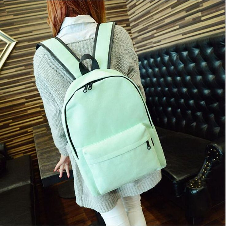 Simple Korean style pure candy color canvas women backpack college student school book bag leisure backpack