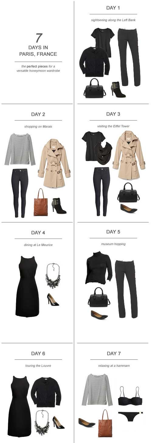 One of the hardest parts about planning the honeymoon can be figuring out what the hell you're going to pack! Often, you've never been to the location that you'll be 'mooning at and it can be tempting to over plan and over pack. Don't do it! Save your money and save your sanity by pre-planning your wardrobe and packing a few versatile pieces (thus, saving precious space for shopping!). Here's my tips and suggestions on packing for 7 days in Paris, France: