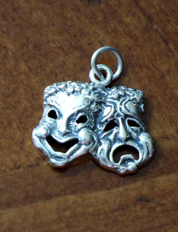 Drama Theatre Sterling Silver Masks Charm Pendant Musical