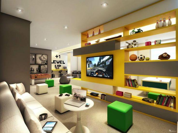 Sala De Tv E De Jogos ~  De Jogos Pins  Design de jogo, Design de sala de jogo and Jogos de