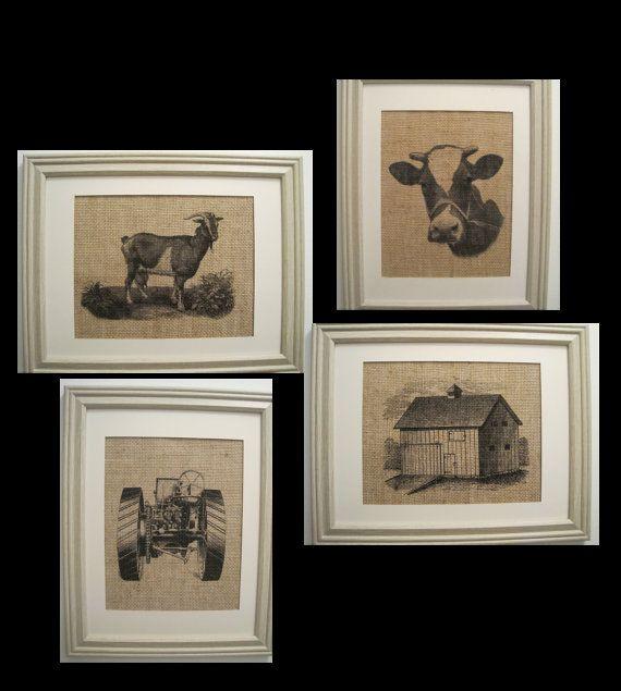 Burlap, 4 Farm Prints,Tractor Barn Cow Goat  Prints, Burlap Farme Art, Nursery Art, Farm, Barn, Tractor, Goat, Cow Burlap Prints on Etsy, $72.00