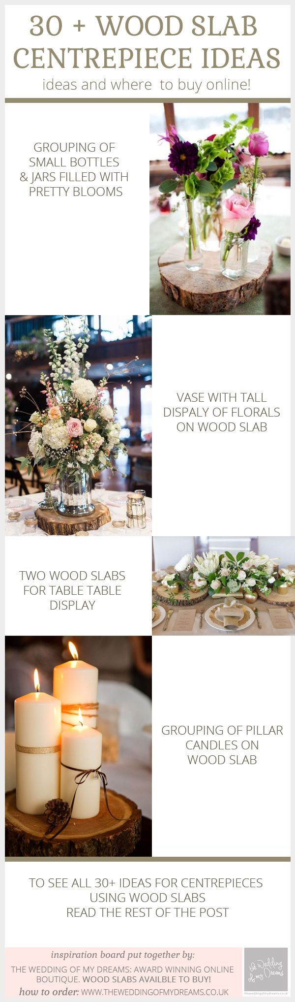 30 + Wooden Slab / Tree Slice Centrepiece ideas - buy tree slices online from www.theweddingofmydreams.co.uk: