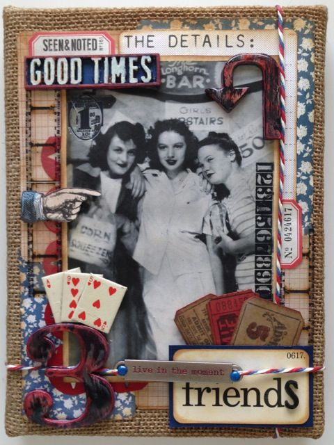 Susan Mostek CC3 C33 altered surfaces using Tim Holtz, Ranger, Idea-ology, Sizzix and Stamper's Anonymous products; July 2015