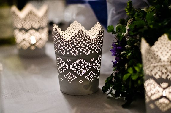 For Hire: White Lace Tea Light Holders. £1 each (58 available). Height 11cm. http://www.rosetintmywedding.co.uk/#!for-hire/c14d8