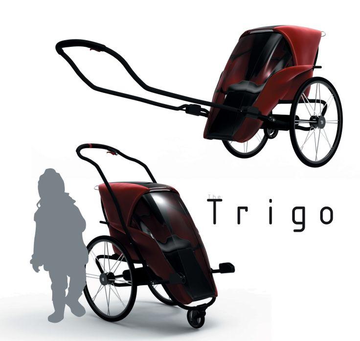 Trigo //  Trigo muuntuu käden käänteessä ja ilman työkaluja lasten rattaista peräkärryksi. Simply, take it further.   // Suunnittelijat Ville Hela-Aro, Jarno Lindberg ja Rochale Yates