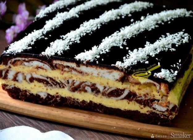 ciasto łaciate z masą sernikową - przepis ze Smaker.pl