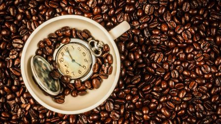 Coffee time cup beans watch abstract HD Wallpaper