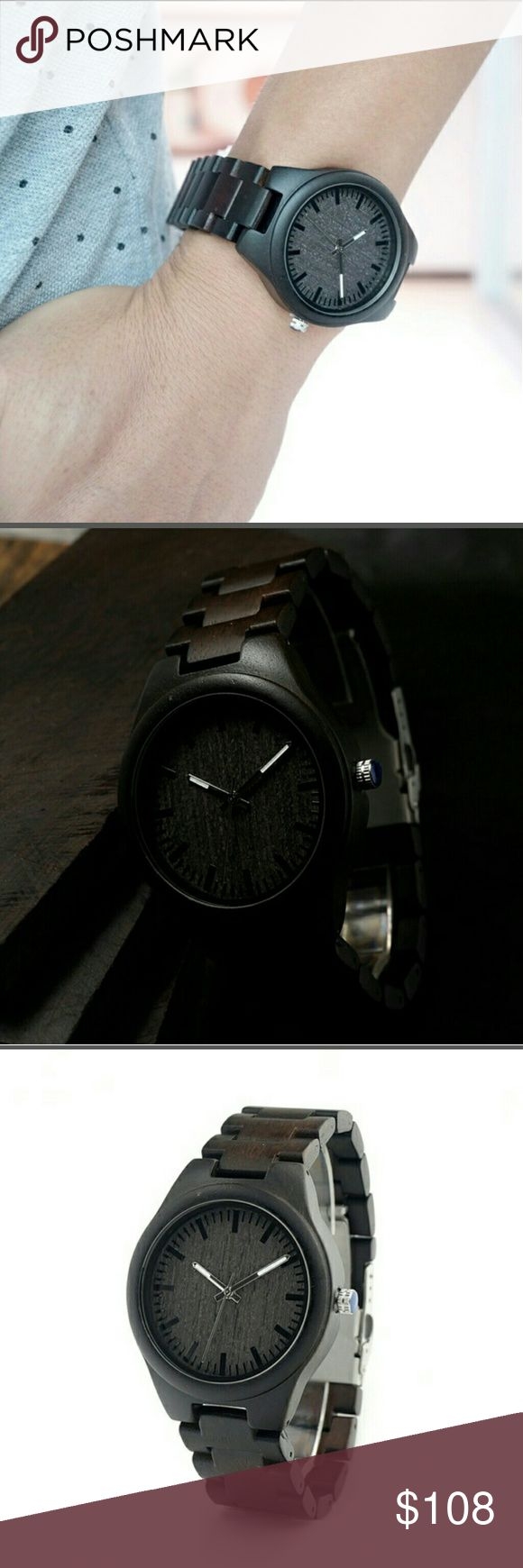 BOBO BIRD men's wrist watch, ebony This is a gorgeous man's watch, pictures don't do it justice,  has a nice gift box included, these are wood so no 2 are the same.   BOBO BIRD in natural wooden watches for men and women, handcrafted with ancient Asian sustainable wood ,including teak, ebony, maple and even bamboo. These trees are hand selected by our expert craftsmen to ensure the exceptional quality of our wooden wrist watches. It takes up to 3days to produce each unique handcrafted watch…