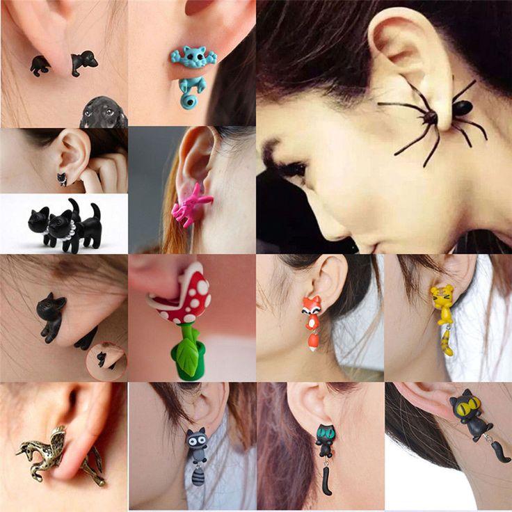 Cute 3D Stereoscopic Animal Earrings Cat Fox Polymer Clay Club Stud Earrings Hot | eBay